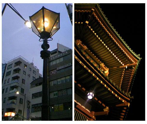 芝大門の街灯と不忍池弁才天塔
