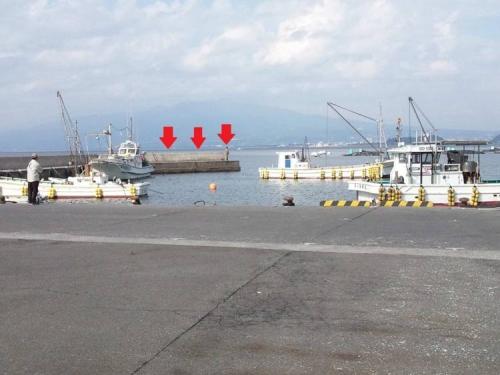 沼津市平沢の磯釣りで黒鯛を狙う赤い矢印がポイントの写真
