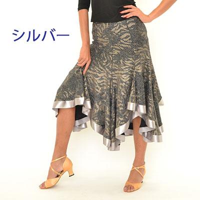 ラメ総柄サテンテープ付きスカート