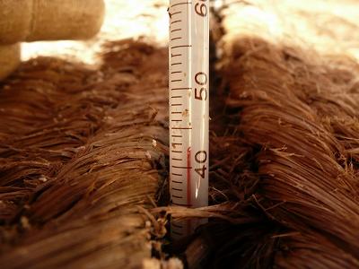 ボカシ肥料を薄く広くしてみた後の温度