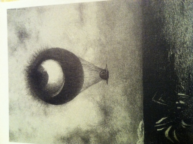 目は奇妙な気球のように無限に向かう