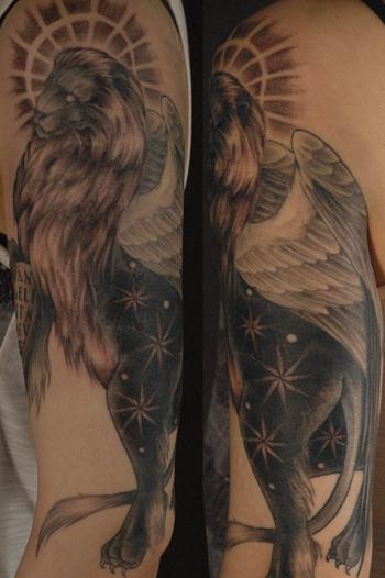 TATTOO タトゥー 刺青 サン・マルコのライオン ブラックアンドグレイ
