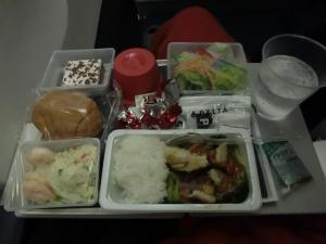 飛行機夜ご飯