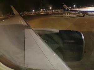 飛行機の座席から