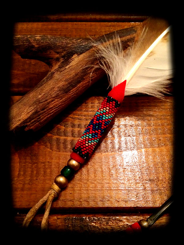 Beaded White Hawk Feather 2