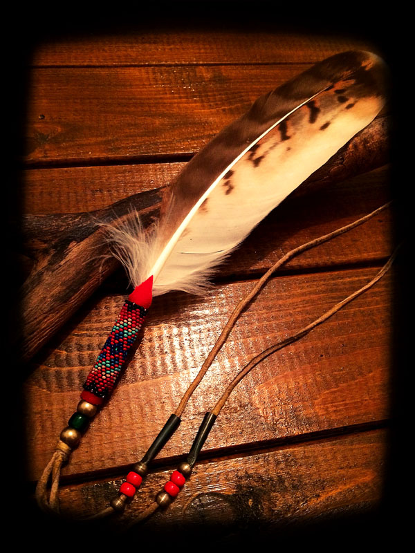 Beaded White Hawk Feather 3