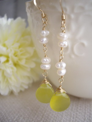 lemon stone earrings