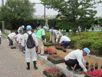 花壇整備のボランティア
