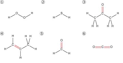 過酸化水素、硫化水素、アセトン、プロピレン、ホルムアルデヒド、二酸化炭素