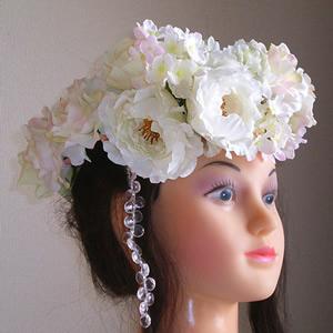 大輪ホワイトローズと紫陽花のウエディング花冠