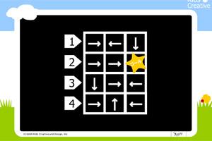 子供向けポータルサイト「Yahoo!きっず(ヤフーキッズ)」にある一人用脱出ゲーム。矢印の方向に進んでいく迷路で、ゴールにたどり着ける数字の場所を選んで答えの