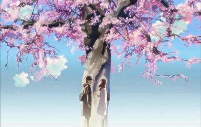 桜の木の前の二人