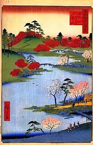 深川八幡の境内を描いた浮世絵