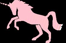 紋章のような見えざるピンクのユニコーン
