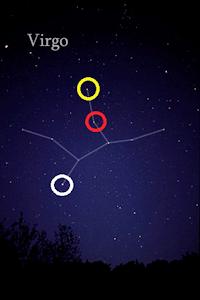 乙女座内の三校の位置:黄がミアトル、白がスピカ、赤がル・リム