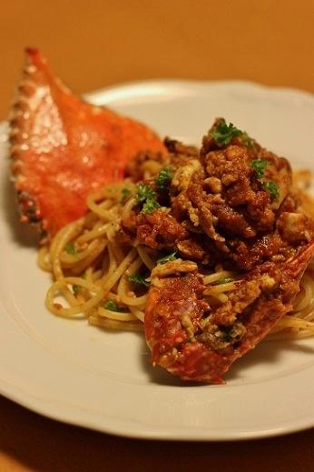 渡り蟹ののトマトクリームパスタ