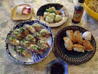 ついでにコロッケ寿司もやっちゃいました!うふふ~コロッケにぎり寿司~wお昼の全体像w2011.11.21